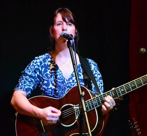 sharon guitar blue dress